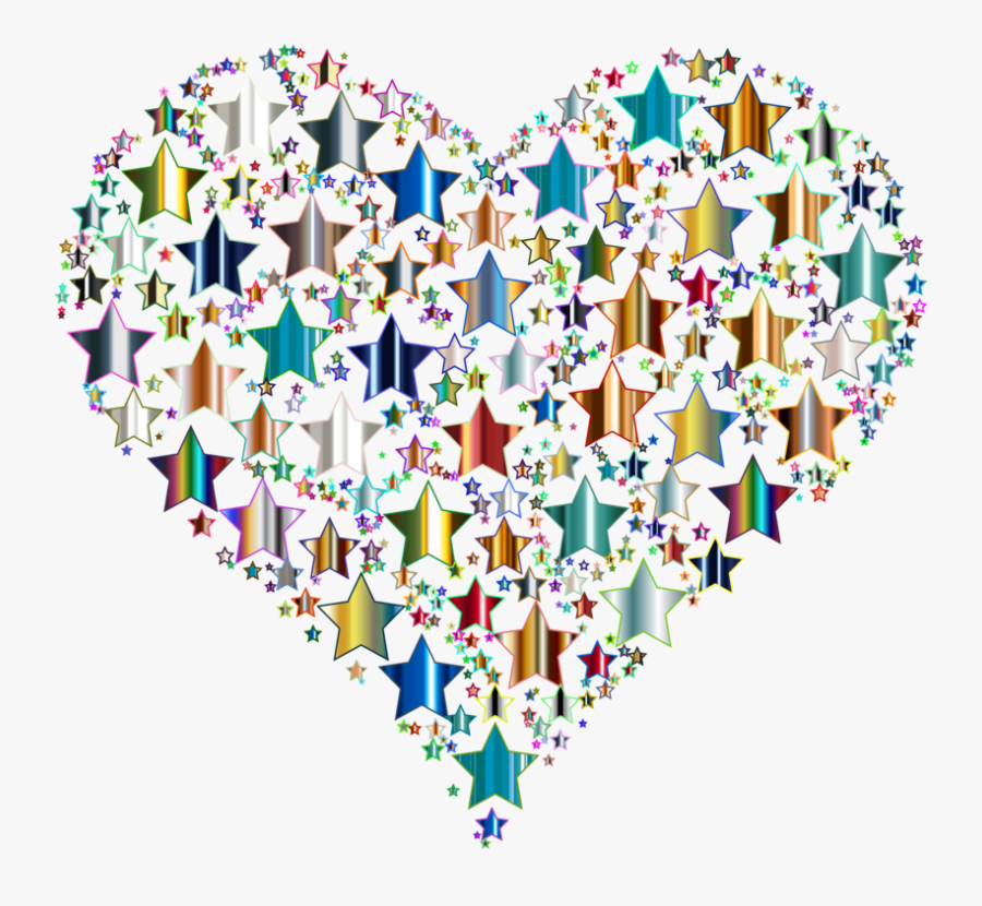 Heart,line,star - Heart Made Out Of Stars, Transparent Clipart