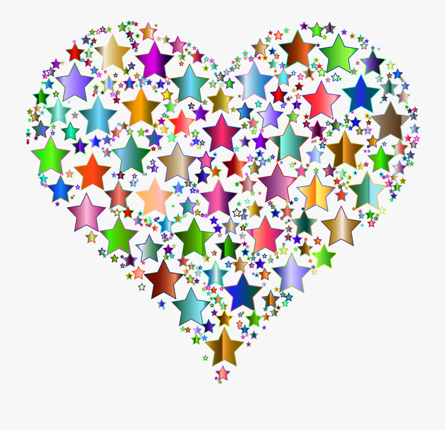 Heart,petal,line - Colorful Heart And Star, Transparent Clipart