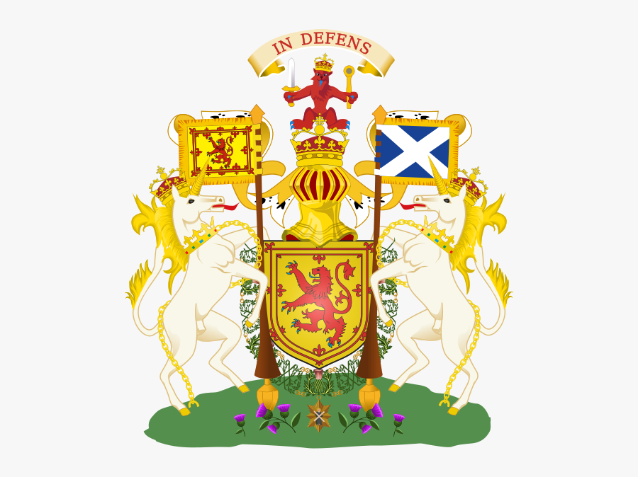 On The Union Of The Crowns, The Arms Were Quartered - Scottish Coat Of Arms Unicorn, Transparent Clipart
