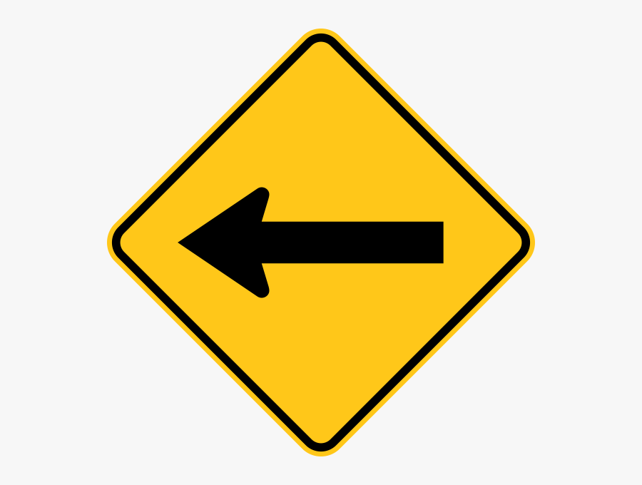 One Direction Arrow Warning Trail Sign Yellow - Clipart Road Sign Arrow, Transparent Clipart