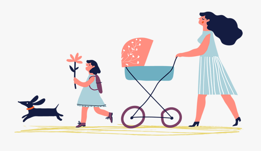 Going For A Walk Clipart , Png Download - Walking Baby & Dog In Stroller, Transparent Clipart