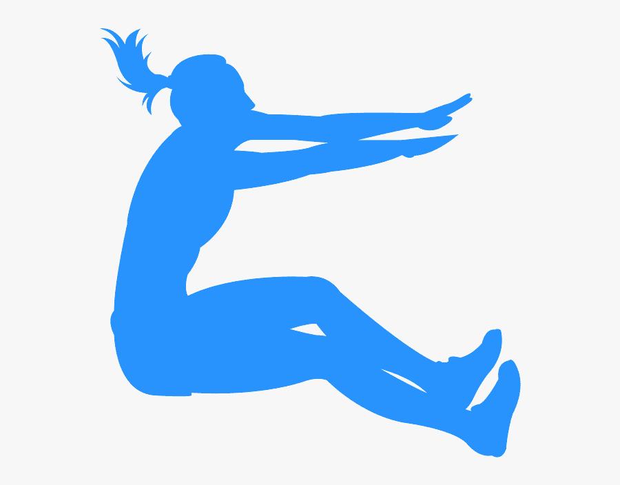 Female Long Jump Silhouette, Transparent Clipart