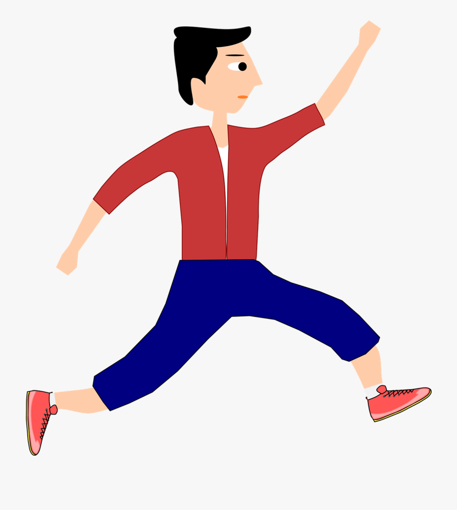 Jump Running Man Boy Sports Png Image - Man Running Clipart Png, Transparent Clipart