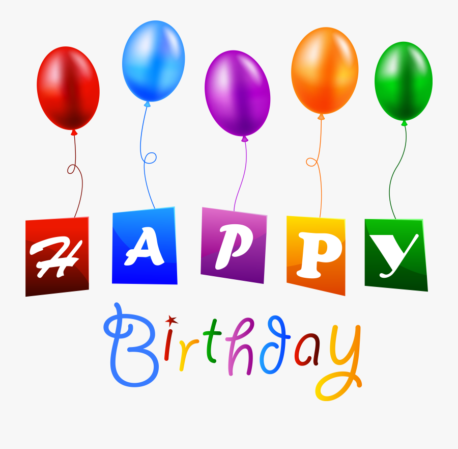 Happy Birthday With Balloons Png Clipart Image - Birthday Balloon Png Hd, Transparent Clipart