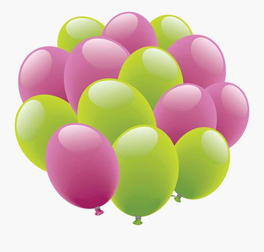 Balloons Png Image - Happy Birthday Pink And Green Balloons, Transparent Clipart