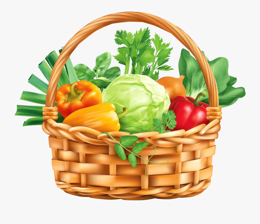 Basket Of Vegetables Clipart - Basket With Vegetables Clipart, Transparent Clipart