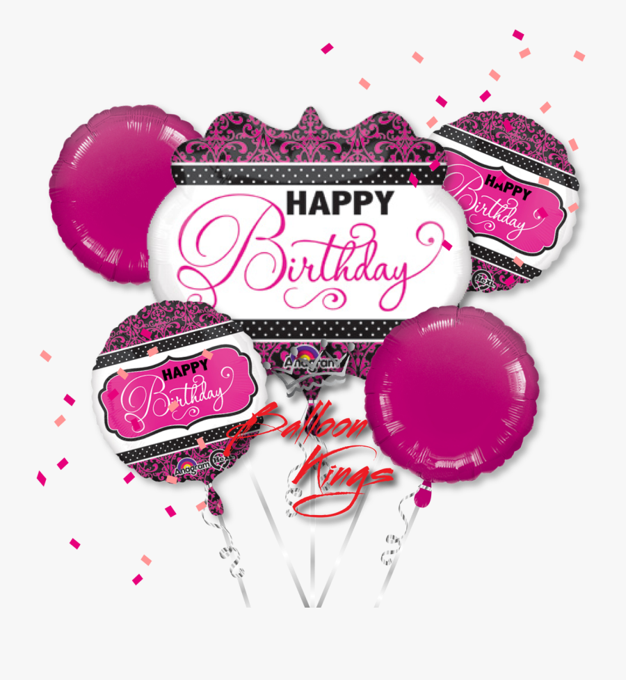 Black And Gold Balloons Png - Birthday Balloons Hot Pink Black, Transparent Clipart