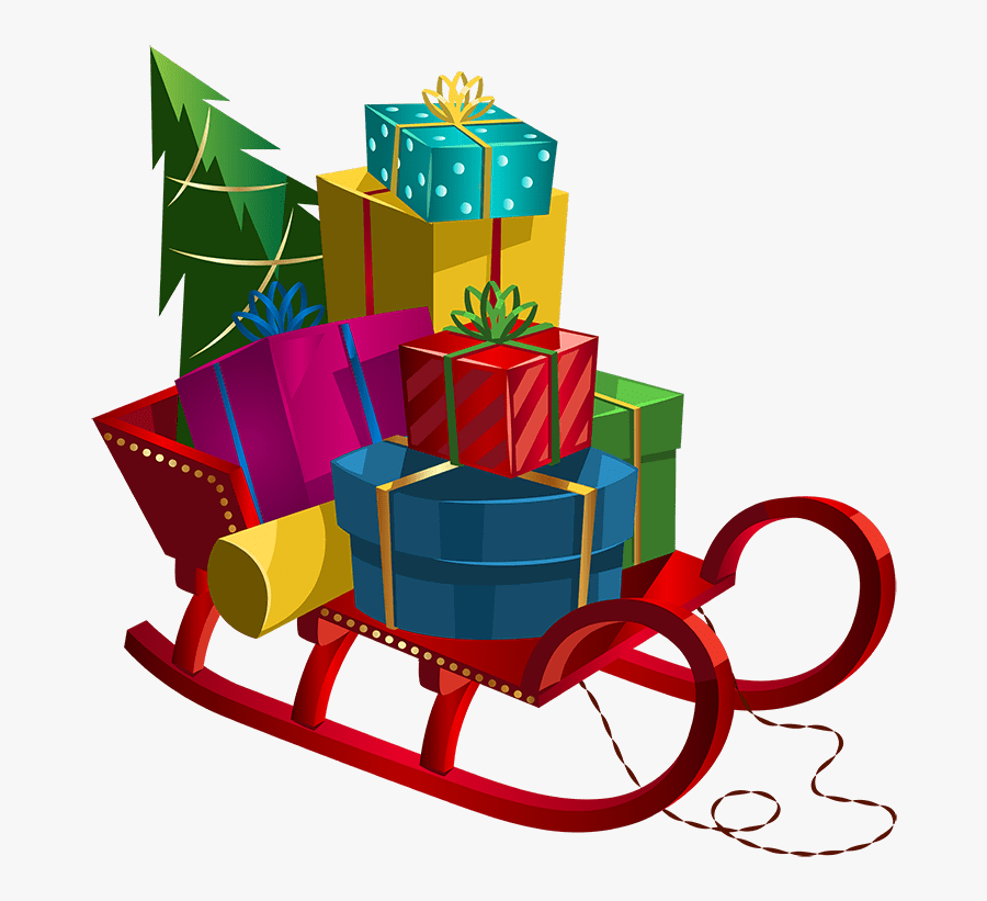 Santa Sleigh And Gifts, Transparent Clipart