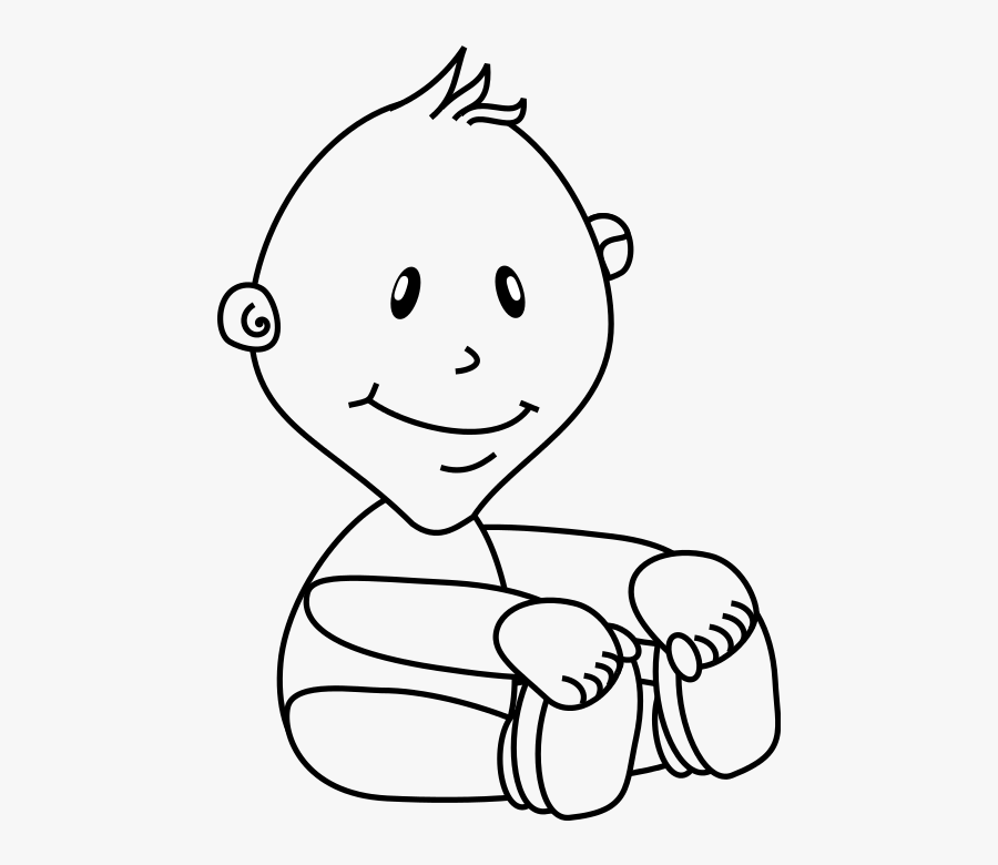 Baby Boy Outline /people/baby/baby Boy/baby - Baby Brother Clipart Black And White, Transparent Clipart
