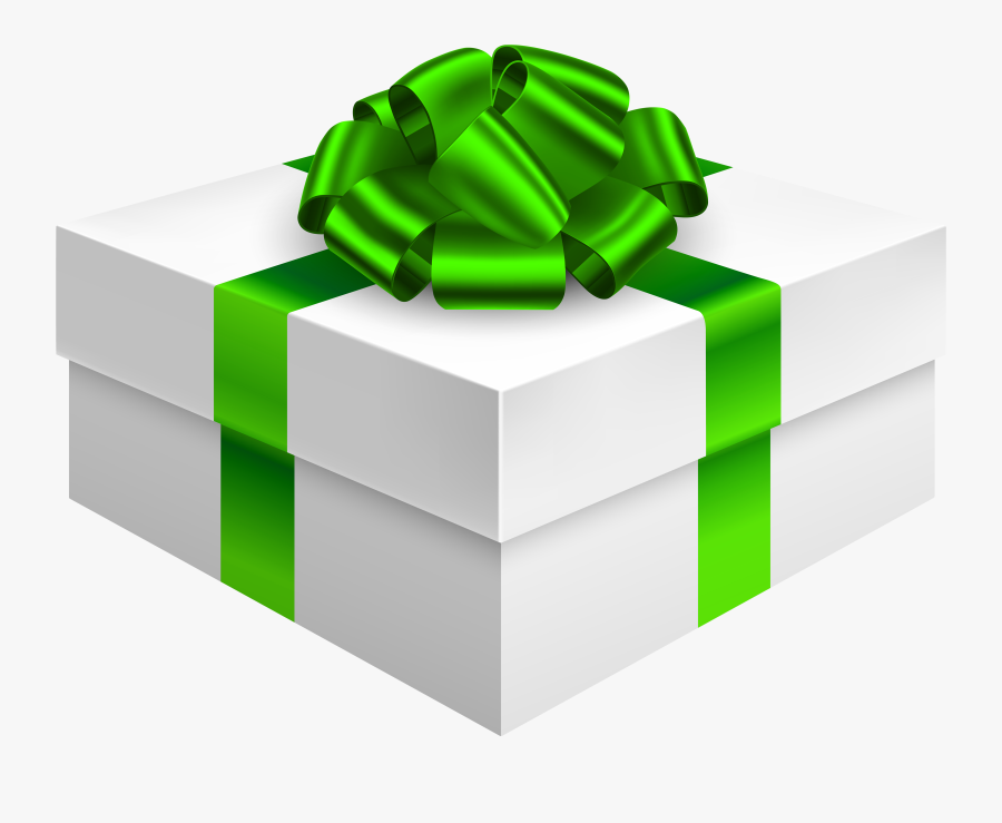 Gift Box With Bow In Green Png Clipart - Green Gift Box Png, Transparent Clipart