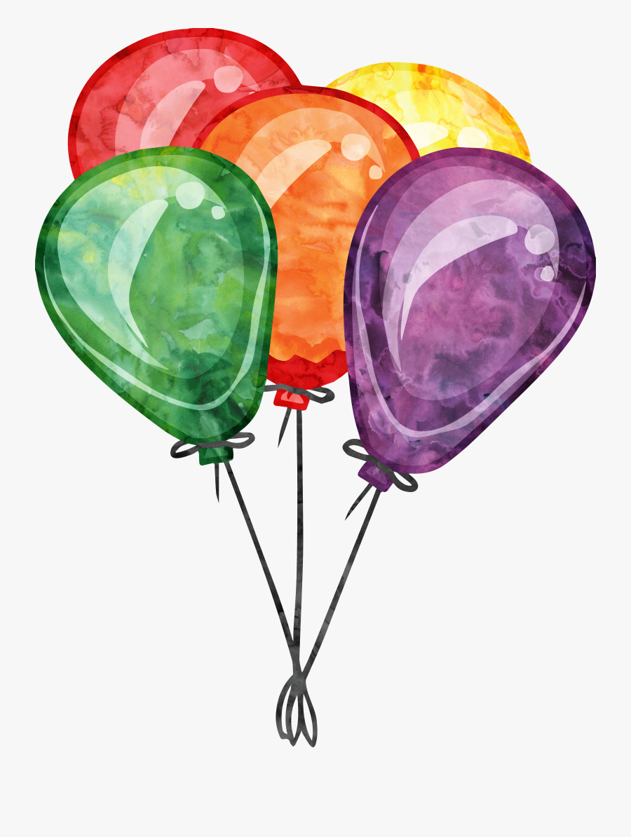 Banner Free Library Watercolor Balloons Clipart - Watercolor Birthday Balloon Clipart, Transparent Clipart