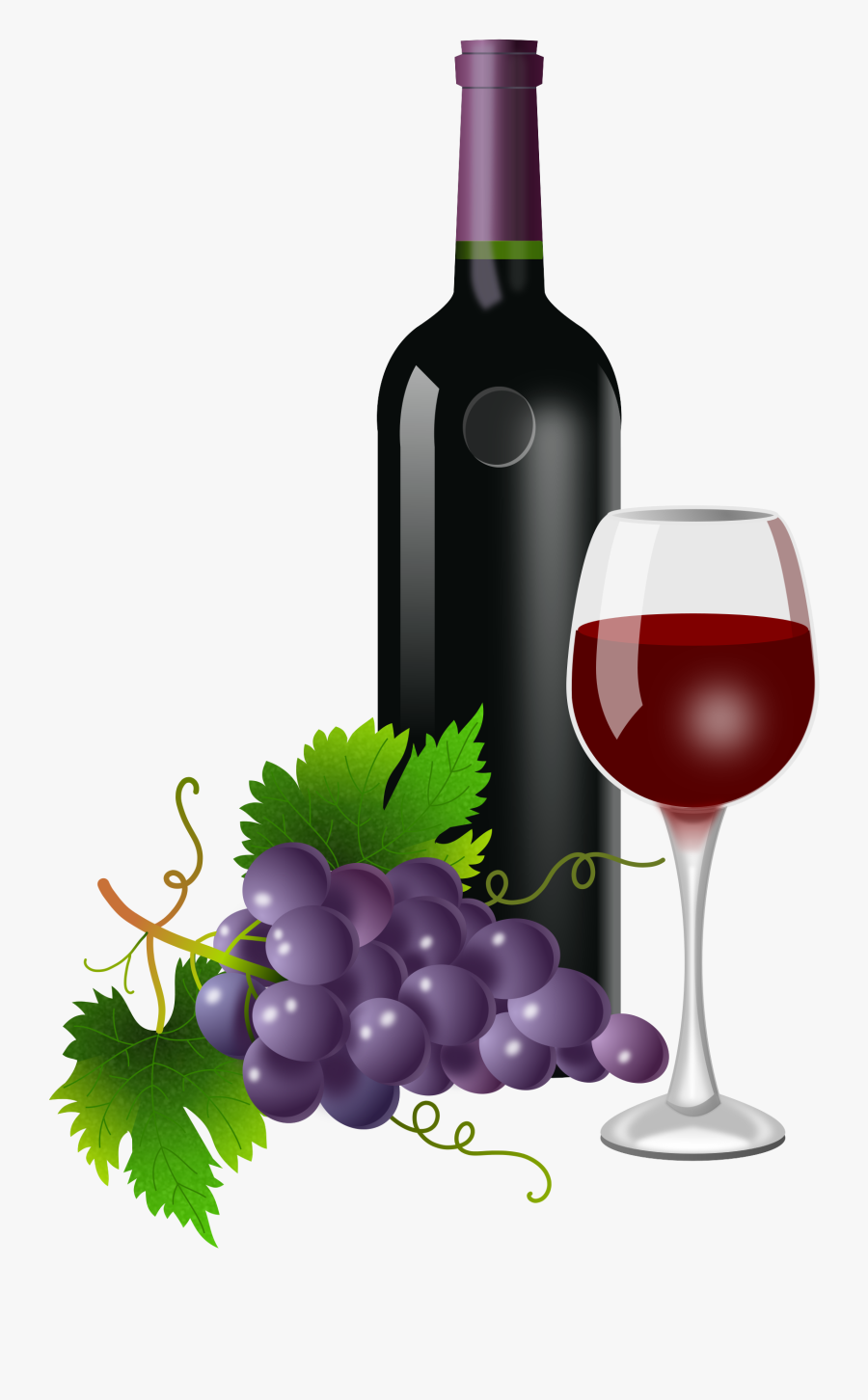 Wine Clipart Bottle - Wine And Grapes Png, Transparent Clipart