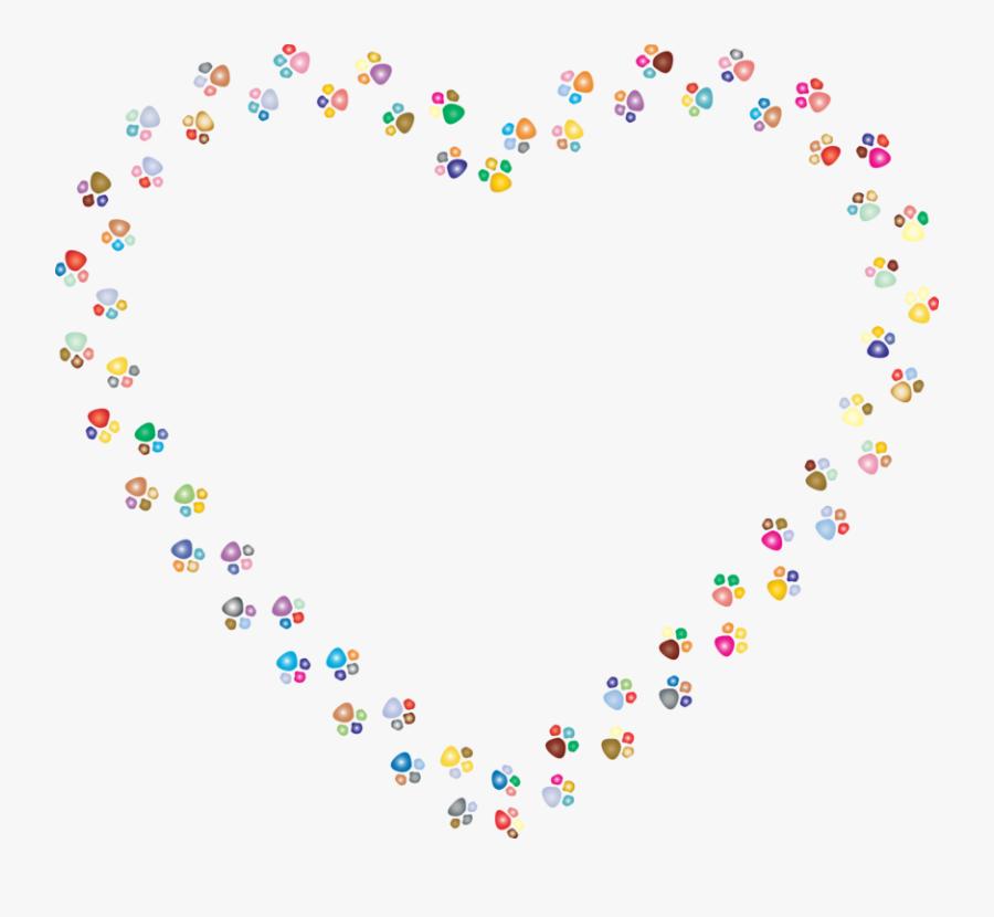 Petal,heart,love - Colorful Paw Print Heart, Transparent Clipart