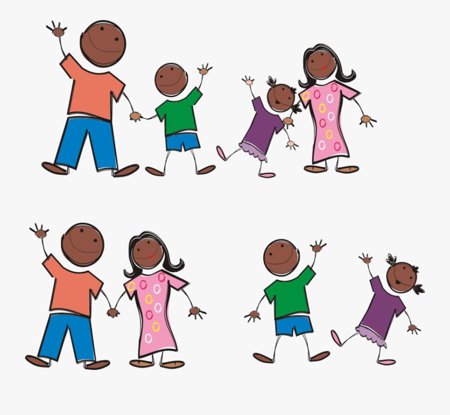 Clip Art Black Stick Figure - Black Family Stick Figures, Transparent Clipart