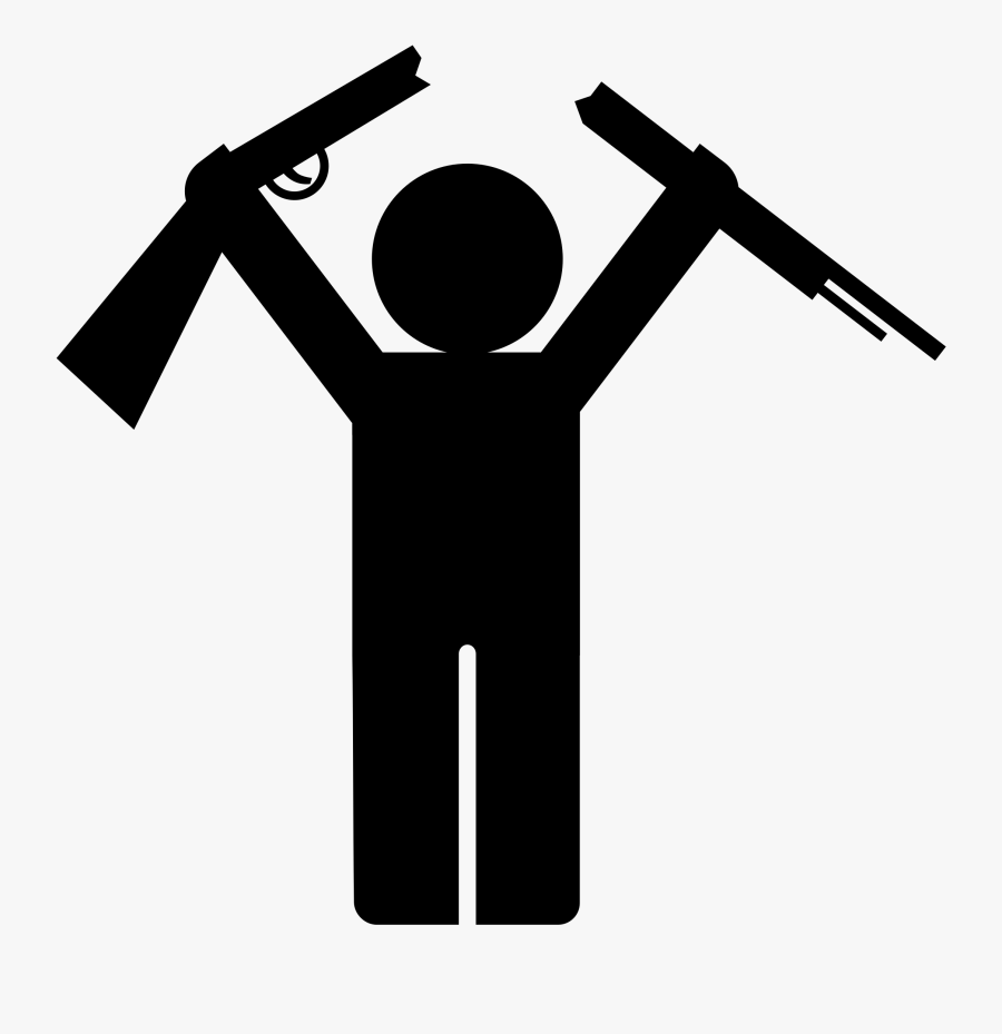Clipart - Stick Man With Gun, Transparent Clipart