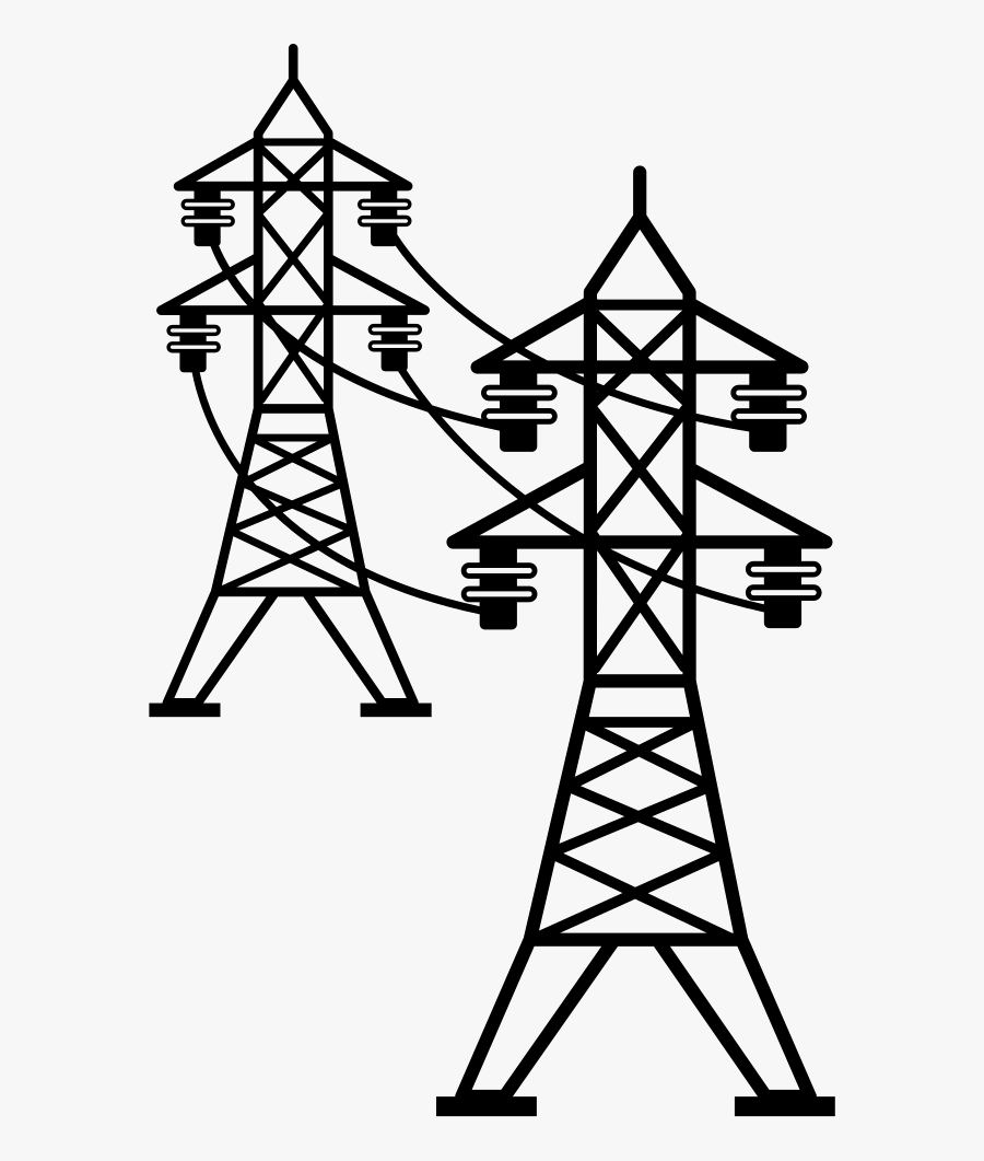 Electric Power Transmission High Electricity Overhead - Transparent Power Lines Clipart, Transparent Clipart