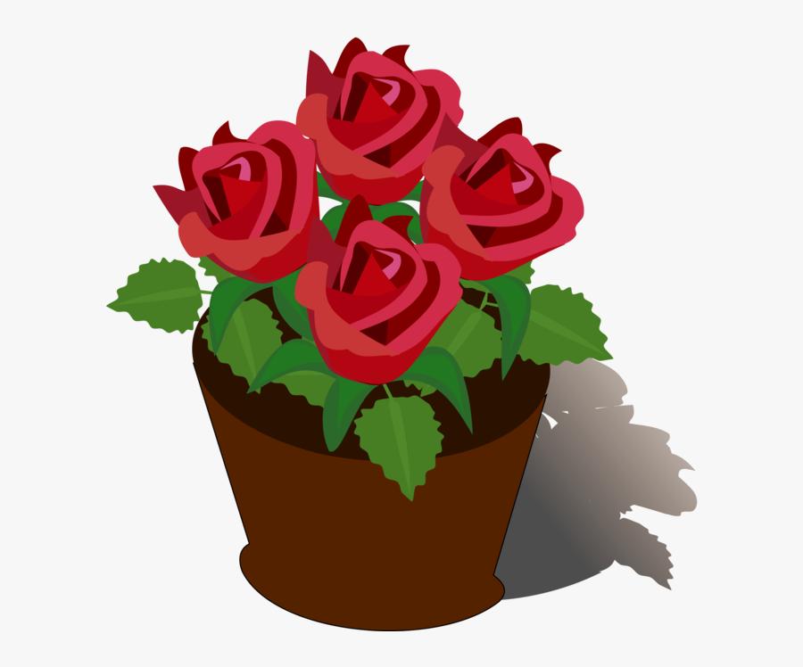 Petal,plant,flower - Simple Rose Flower Pot Drawing, Transparent Clipart
