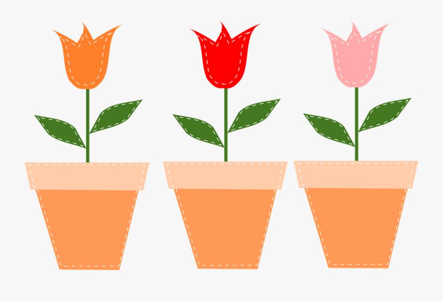 Flower Pots, Pots, Tulips, Flowers, Pot, Tulip, Floral - Flower Pot Png Clipart, Transparent Clipart