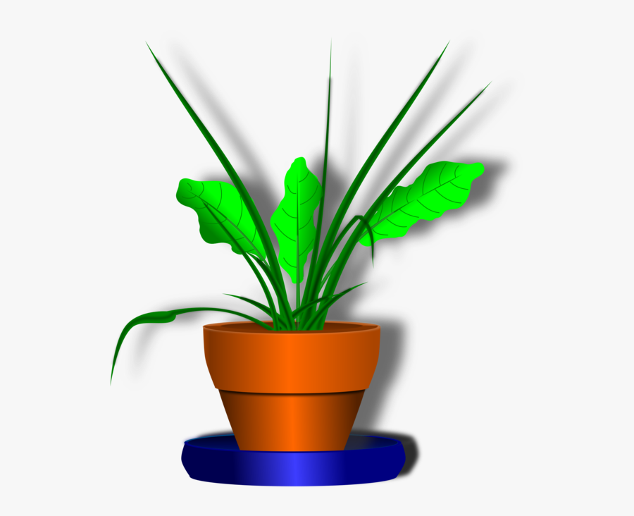Flower Pot With Green Plant Clip Art At Clker - Flower Plant Cartoon Transparent Background, Transparent Clipart
