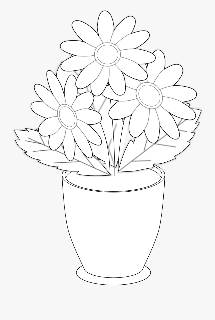 Flowers For Black And White Flower Clipart Daisy - Flower Vase With Flowers Drawing, Transparent Clipart