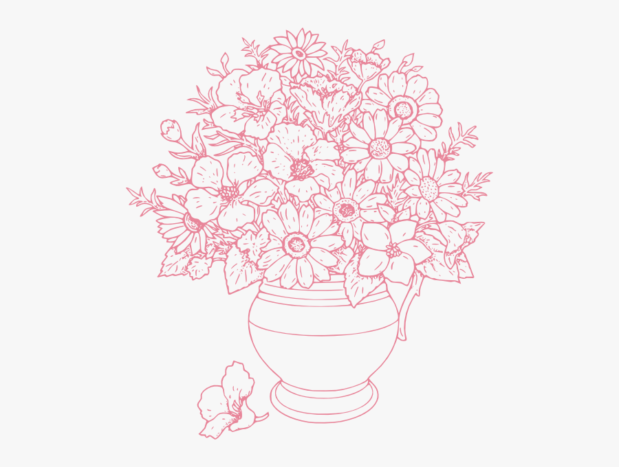 Bouquet Of Flowers Clip Art At Clker - Flower Vase With Flowers Drawing, Transparent Clipart