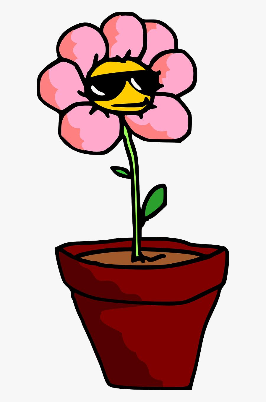 Transparent Flower Pot Clipart - Cartoon Potted Flower Png, Transparent Clipart