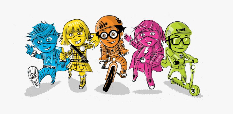 Active School Travel Characters, Transparent Clipart