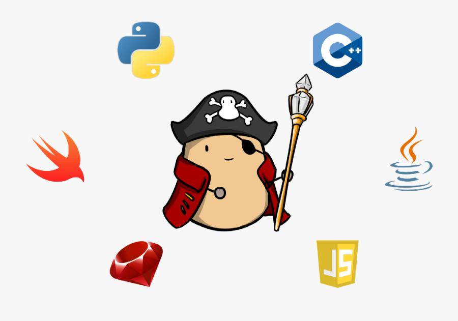 Potato King Embraces All Programming Languages - Potato Pirates The Tastiest Coding Card Game, Transparent Clipart