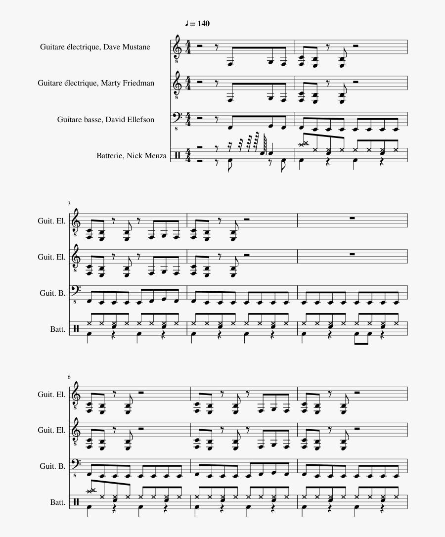 Lg-36780202 Sheet Music 1 Of 18 Pages - Megadeth Symphony Of Destruction Sheet Music, Transparent Clipart