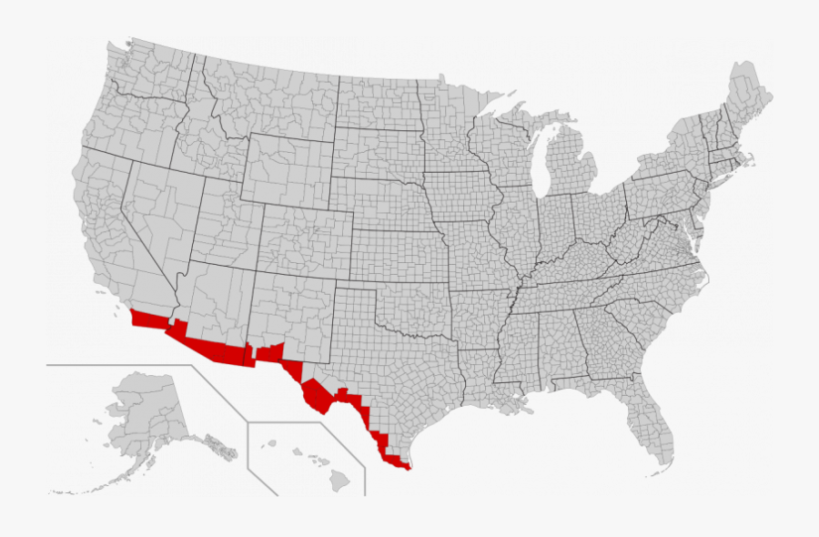 Maps Mexico United States Border And Map Texas Wall - 2016 Election Map Purple, Transparent Clipart