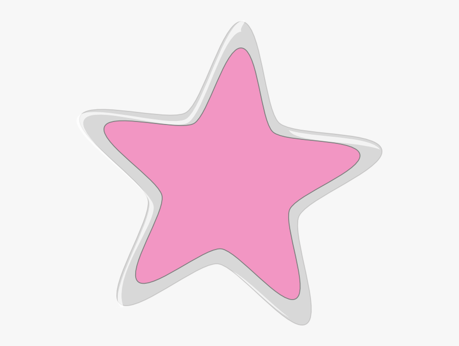 Silver And Pink Star, Transparent Clipart