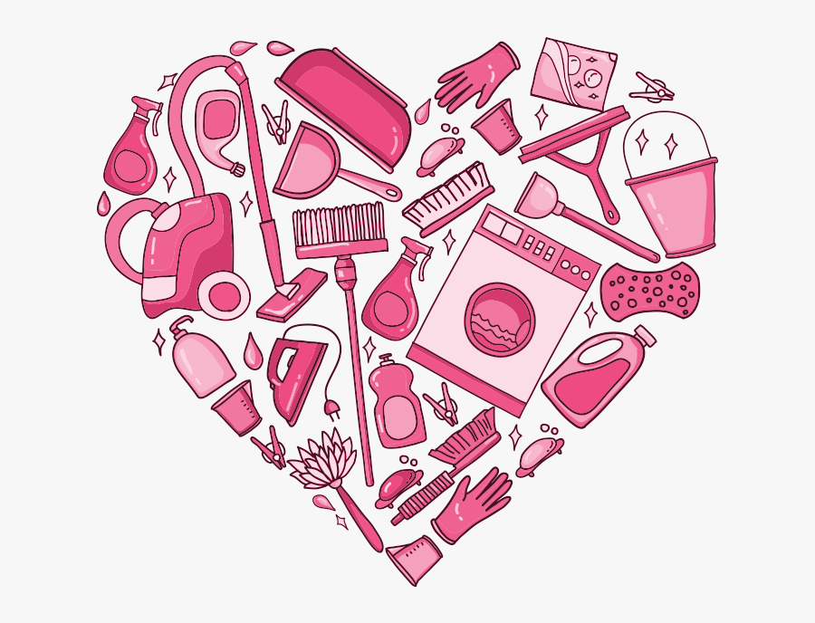 Graphic Of Cleaning Icons In Shape Of Heart - Happy Environmental Services Week, Transparent Clipart