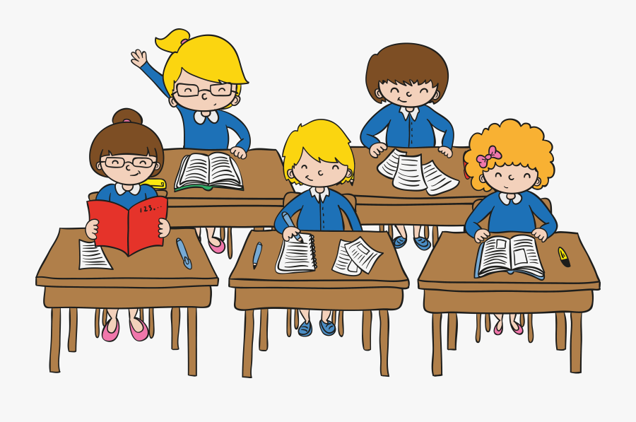 Clip Art Classroom Images Cartoon - Drawing Of Student In The Classroom, Transparent Clipart