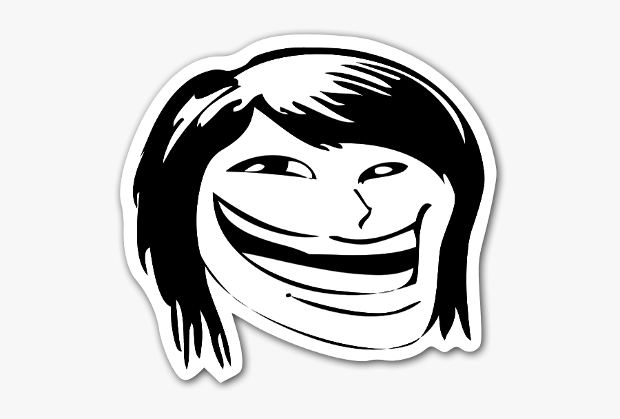 Memes Happy Hair Face Troll Sticker - Girl Troll Face Png, Transparent Clipart