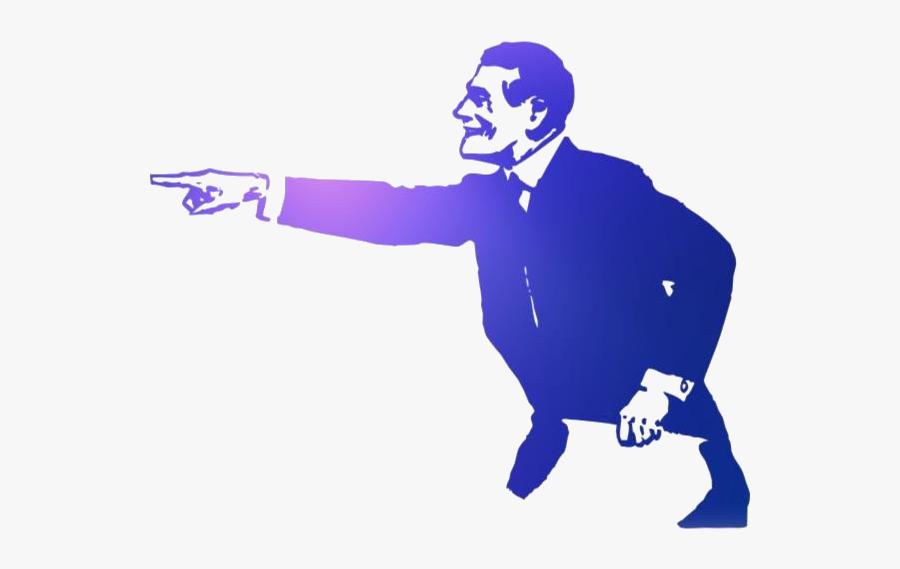 Transparent Retro Man Pointing Finger Clipart - Person Pointing Finger Clipart, Transparent Clipart