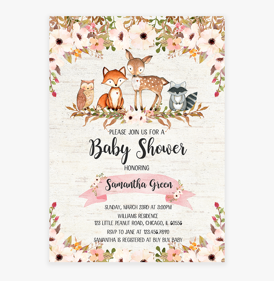 Floral Invitation Printable Let S - Fall Woodland Animals Baby Shower Invitations, Transparent Clipart
