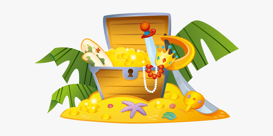 Treasure Clipart Pirate Island - Pirate Treasure Chest Cartoon, Transparent Clipart
