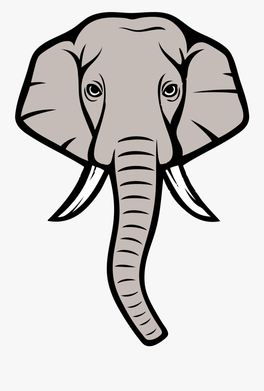 Alabama Elephant Lineart - Drawing Elephant Head Cartoon, Transparent Clipart