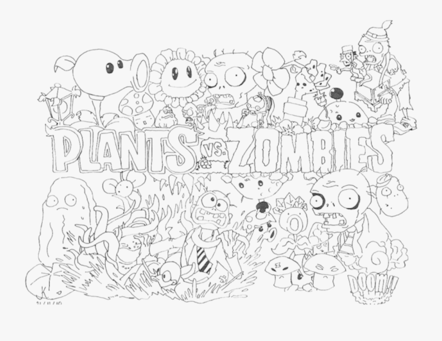 - Coloring Pages Plants Vs Zombies - Plants Vs Zombies Gw2 Coloring Pages ,  Free Transparent Clipart - ClipartKey