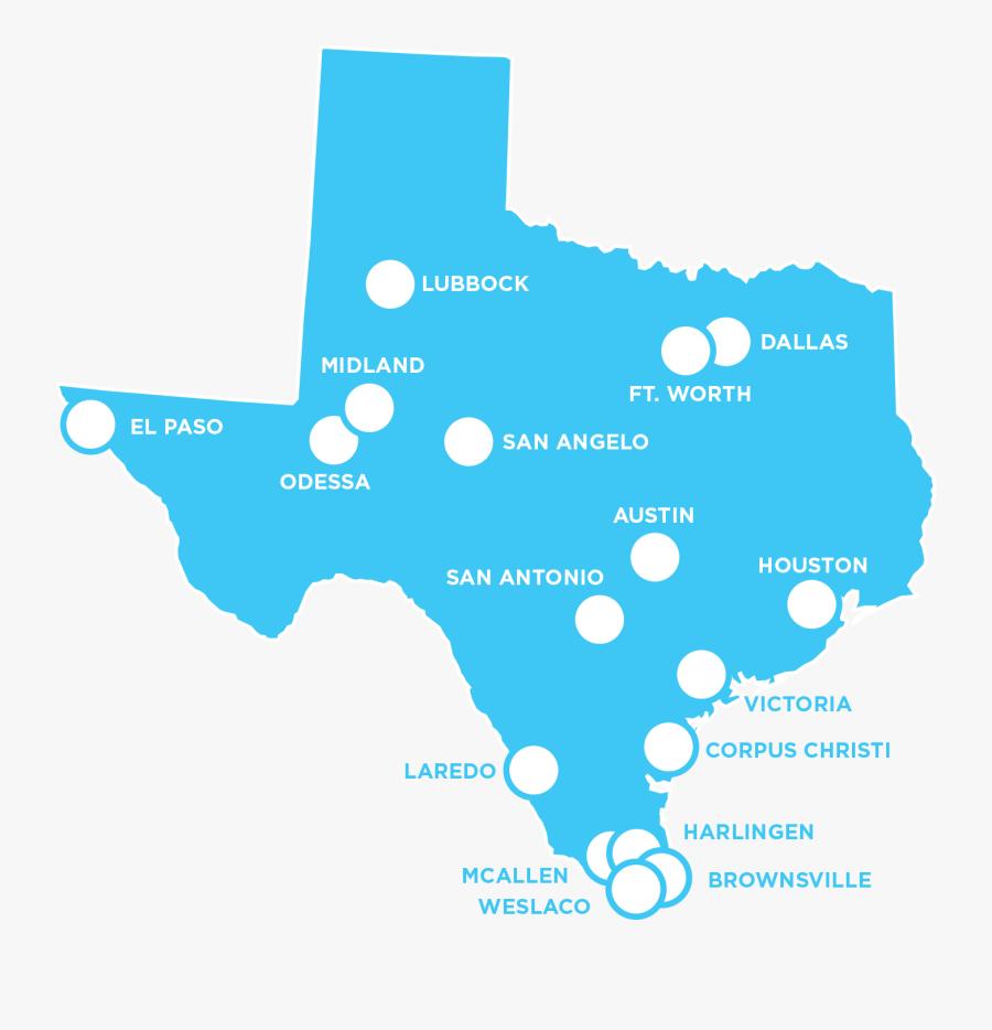 Texas Map - Black Map Of Texas, Transparent Clipart