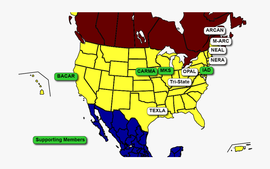 Map Of North America Regional Associate Groups - United States Of Canada Jesus Land, Transparent Clipart