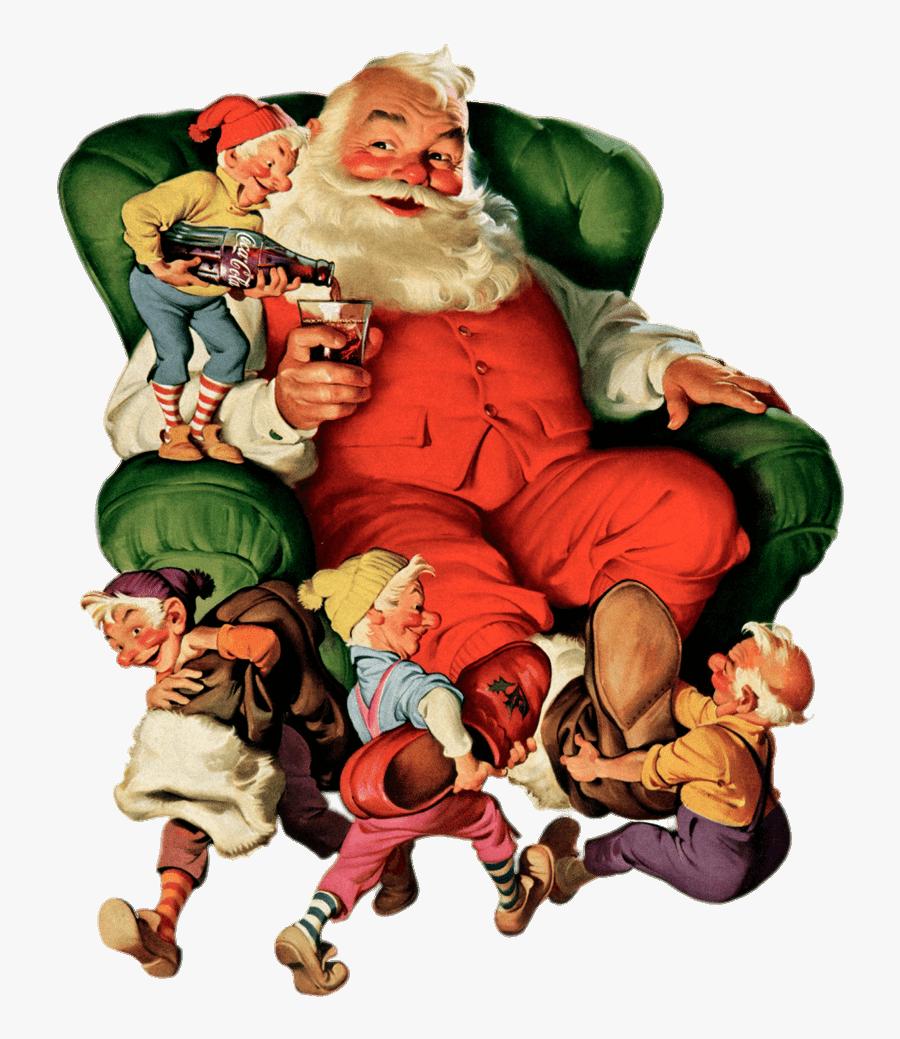 Coca Cola Vintage Santa Claus Transparent Png - Vintage Coca Cola Christmas, Transparent Clipart