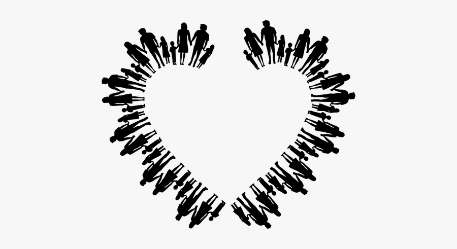 Family Silhouette Heart - People Holding Hands In Circle, Transparent Clipart