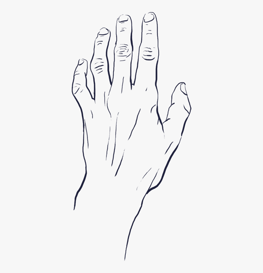 Tense And Thin Looking Hand Reaching Upwards - Reaching Hand Drawing Png, Transparent Clipart
