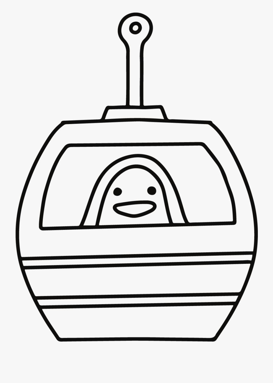 Cable Car Penguin Digi Stamp - Drawing, Transparent Clipart