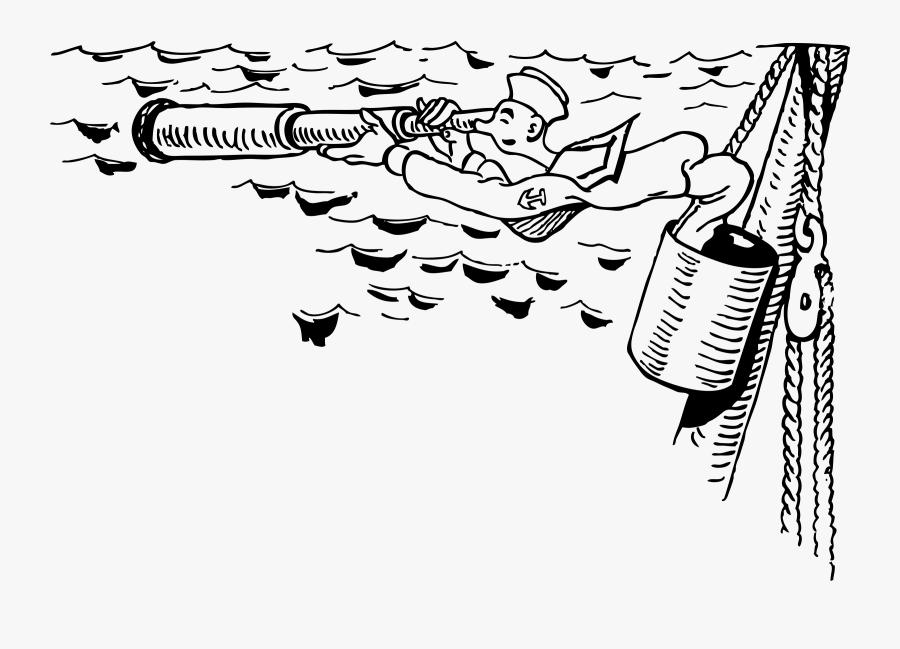"Sailor In Crow""s Nest Using Spyglass Clip Arts - Sailor Lookout, Transparent Clipart"