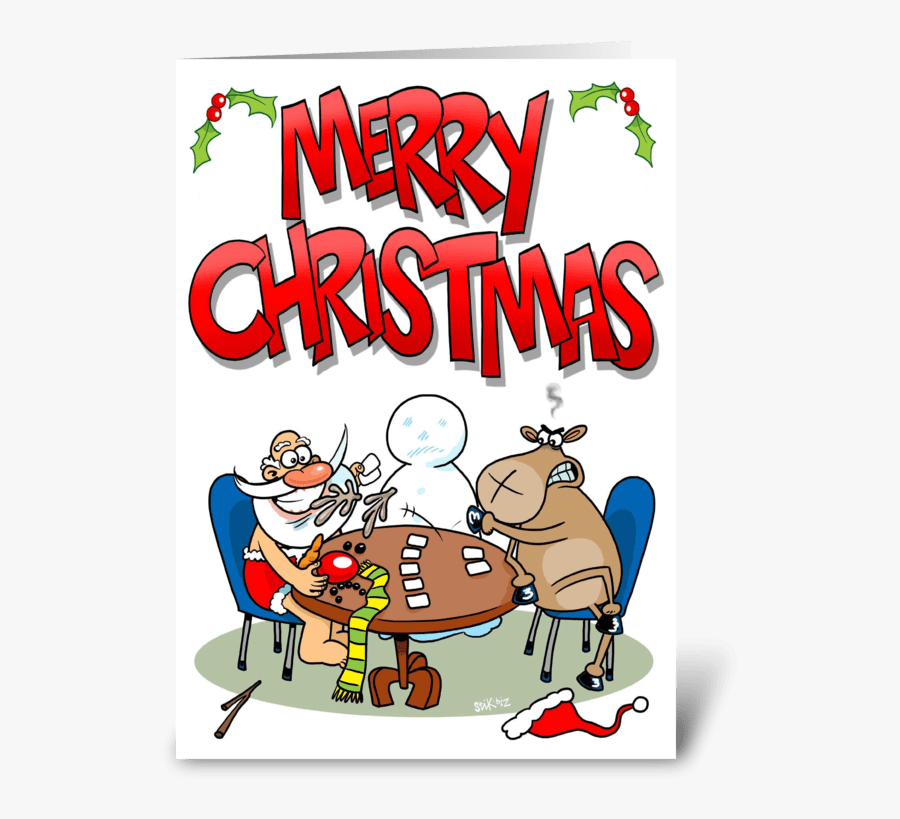 Strip Poker Christmas Greeting Card - Poker Christmas Card, Transparent Clipart