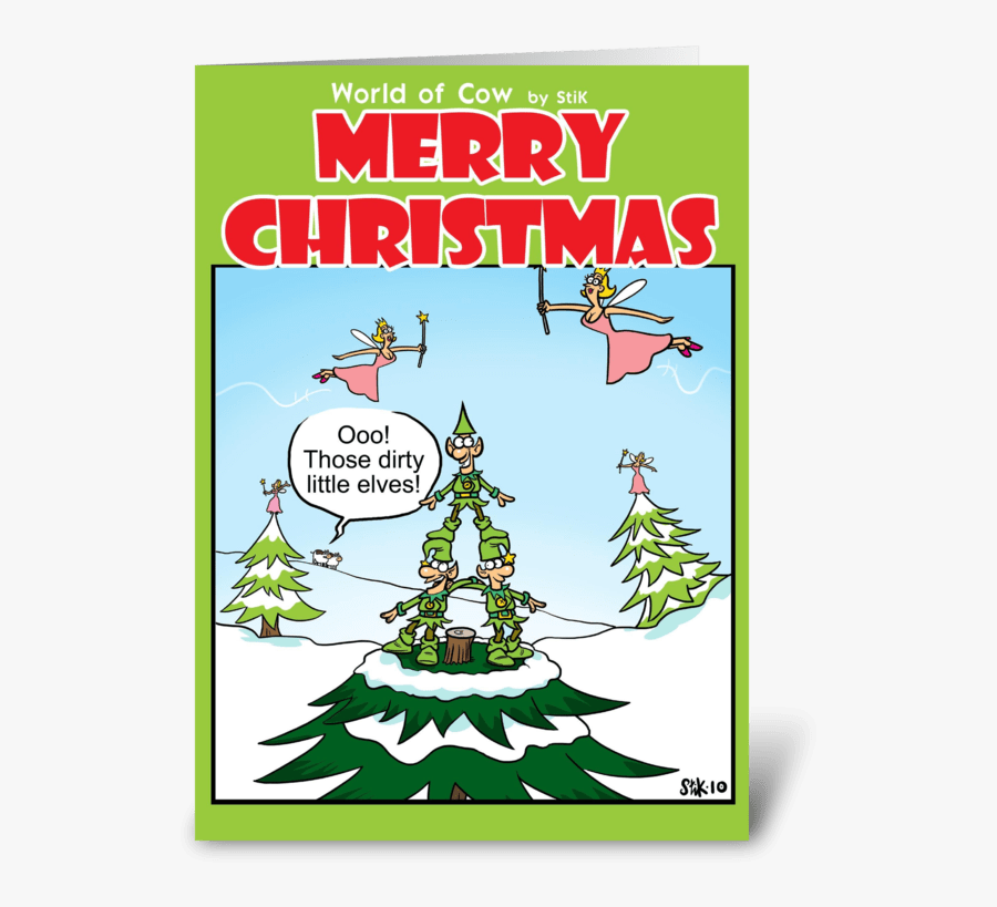 Dirty Little Elves Christmas Card Greeting Card - Dirty Christmas Cards, Transparent Clipart