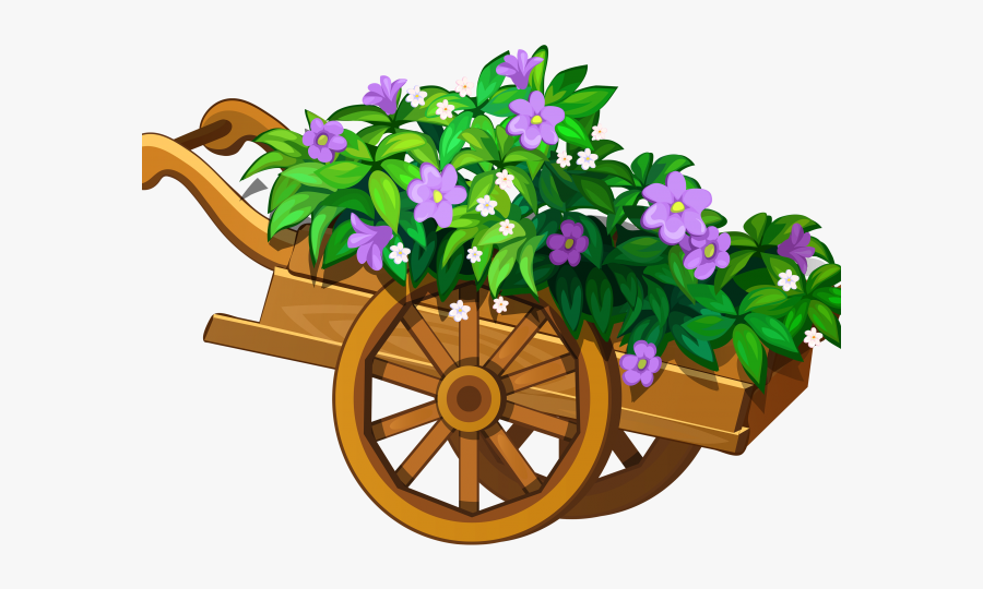 Free Gardening Clipart - Cart Of Flowers Clipart, Transparent Clipart