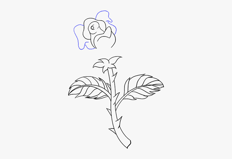 How To Draw A Rose In A Few Easy Steps Easy Drawing - Easy Rose With Thorns Drawings, Transparent Clipart
